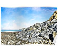 beach and boulders at ballybunion Poster