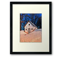 Small cottage in winter wonderland | architectural photography Framed Print