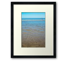 beach in county kerry ireland with wading woman Framed Print