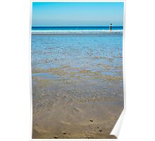 beach in county kerry ireland with wading woman Poster