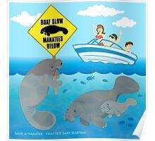Boat Slow Manatees Below Poster