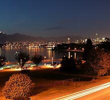 English Bay at Night,  Vancouver, BC  by AnnDixon