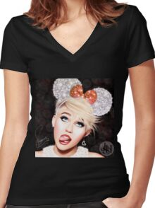 Micky miley Women's Fitted V-Neck T-Shirt