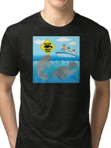 Boat Slow Manatees Below Tri-blend T-Shirt