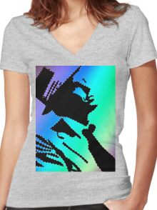 Sinatra under the rainbow Women's Fitted V-Neck T-Shirt