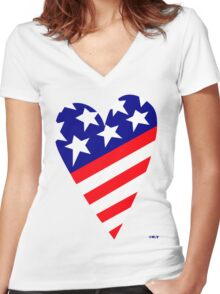 AMERICA'S CARING HEART Women's Fitted V-Neck T-Shirt