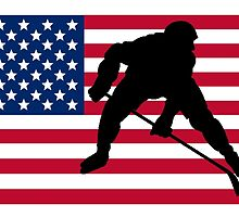 Hockey Player American Flag by GiftIdea