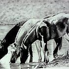 Mustang Watering Hole by wildwindart