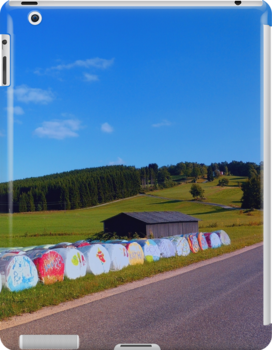 Hayballs along the road   landscape photography by Patrick Jobst