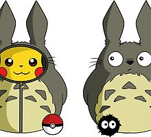 Totoro and Pika by Carcast