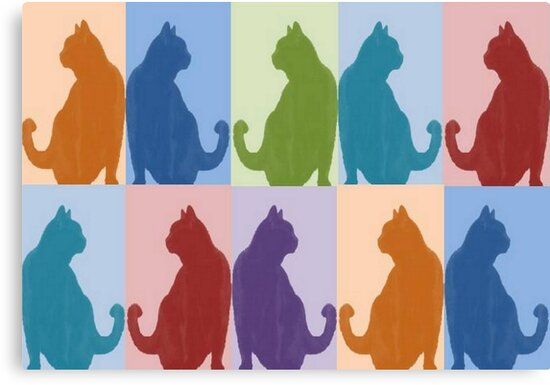 Silhouette Cat Collage Pattern New Media Art by taiche