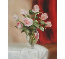 Roses in Vase Photographic Print