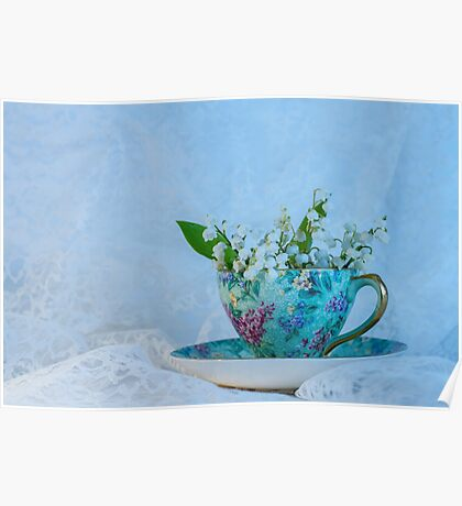 Lily Valley Tea Cup Poster
