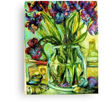 IRIS, PAINT BOX, VARNISH, PAINT TUBES AND BRUSHES Canvas Print