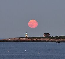 Moonrise Over Straitsmouth Island Lighthouse by Kamalyn