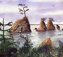 Three Graces Tillamook Bay Watercolor by Pagani