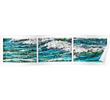 Cresting Waves Triptych Poster