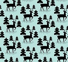 Deer In The Forest Blue Pattern by KarinBijlsma