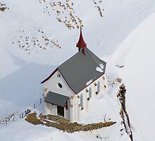 Skiers Chapel - Swiss Alps by John Miner