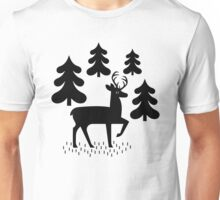 Deer In The Forest Blue Pattern Unisex T-Shirt