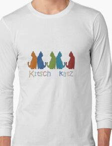 Kitsch Cats Silhouette Cat Collage Pattern Isolated Long Sleeve T-Shirt