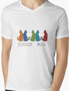 Kitsch Cats Silhouette Cat Collage Pattern Isolated Mens V-Neck T-Shirt
