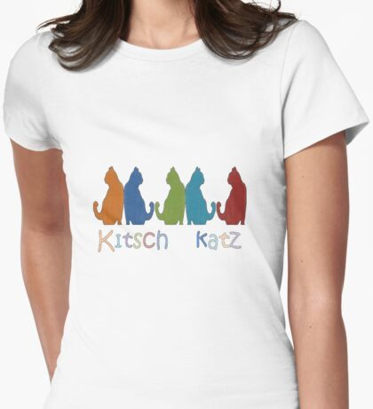 Kitsch Cats Silhouette Cat Collage Pattern Isolated Womens Fitted T-Shirt