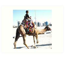 Kid on the camel Art Print