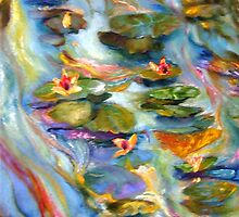 Water Lilies Below the Bridge by Barbara Sparhawk