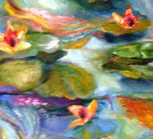 Water Lilies Below the Bridge Sticker