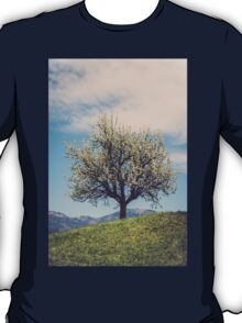 Blossom tree on a hill in Switzerland T-Shirt