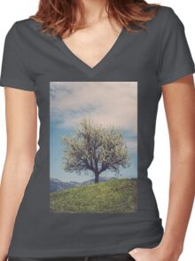 Blossom tree on a hill in Switzerland Women's Fitted V-Neck T-Shirt