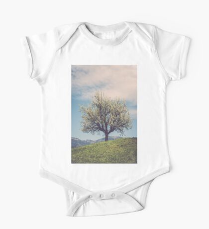 Blossom tree on a hill in Switzerland One Piece - Short Sleeve