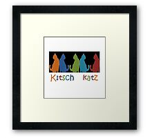 Kitsch Cats Silhouette Cat Collage Pattern on Black Framed Print