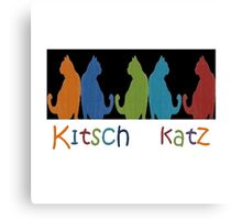 Kitsch Cats Silhouette Cat Collage Pattern on Black Canvas Print