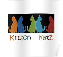Kitsch Cats Silhouette Cat Collage Pattern on Black Poster