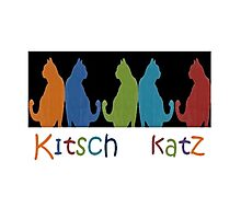 Kitsch Cats Silhouette Cat Collage Pattern on Black Photographic Print