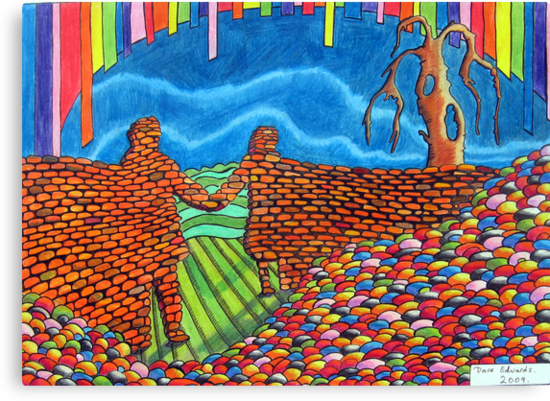 274 - IF ONLY THESE BRICKS COULD TALK III (THE WALL OF FRIENDSHIP) - DAVE EDWARDS - COLOURED PENCILS & FINELINERS  - 2009 by BLYTHART