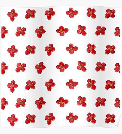 Cute Little Red Watercolor Flower Pattern Poster