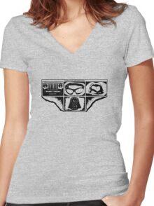 Dark Side Description Women's Fitted V-Neck T-Shirt