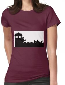 The TARDIS lands on the Satellite of Love Womens Fitted T-Shirt