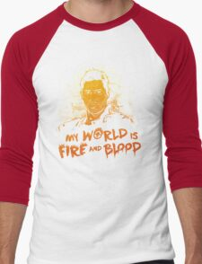 My World is Fire Men's Baseball ¾ T-Shirt