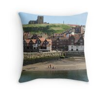 Whitby Harbour, North Yorkshire Throw Pillow