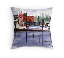 Garibaldi Boats and Harbor Watercolor Throw Pillow