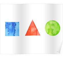 Watercolor geometrical shapes Poster