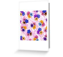Pretty Girly Watercolor Flowers on Pink Watercolor Greeting Card