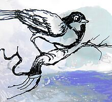 Bird with Blue Sky Watercolor by John Fish