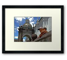Plaza Observers Framed Print