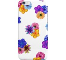 Pretty Girly Watercolor Flowers on White iPhone Case/Skin