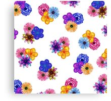 Pretty Girly Watercolor Flowers on White Canvas Print
